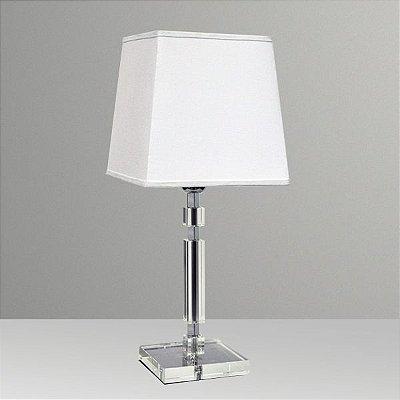 Abajur Vidro Cristal Quadrado Cúpula Tecido Bivolt 47cm de Altura Gyo ll Golden Art E-27 M724 Mesas e Quartas