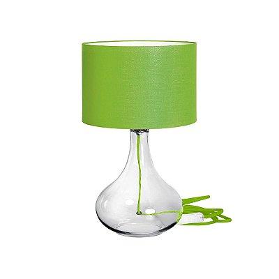 Abajur Decorativo Vidro Cúpula Tecido Verde Bivolt 50cm de Altura InColore Luciin E-27 CF079/8 Criados-Mudos e Salas