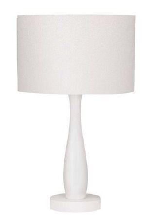 Abajur Decorativo Acrílico Branco Cúpula Tecido Bivolt 47cm de Altura InGatto Luciin E-27 Cf145/2 Cabeceiras e Salas