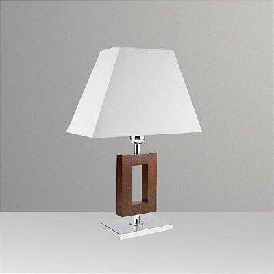 Abajur Rústico Decorativo Madeira Maciça Cúpula Tecido Bivolt 43cm de Altura Golden Art M633-MA Criados-mudos e Salas