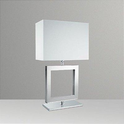 Abajur Alumínio Cromado Quadrado Decorativo Cúpula Tecido Bivolt 66cm de Altura Golden Art E-27 M632-ME Quartos e Salas