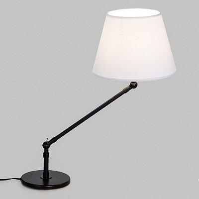 Abajur Luminária de Mesa Articulado Preto Cúpula Bivolt Estudo 50cm de Altura Angle Golden Art E-27 M740 Mesas e Quartos