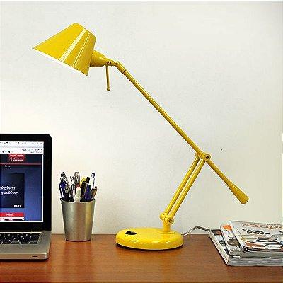 Abajur Luminária de Mesa Alumínio Colorido Amarelo Cúpula Bivolt 40cm de Altura Tamy Golden Art G9 M785 Escritório e Salas