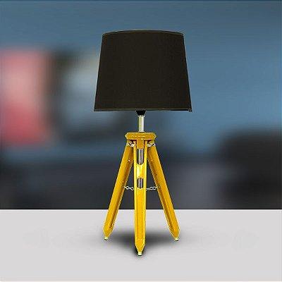 Abajur Rústico Tripé Madeira Colorido Amarelo Cúpula Tecido Bivolt 58cm de Altura Golden Art E-27 M751-AM Quartos e Salas