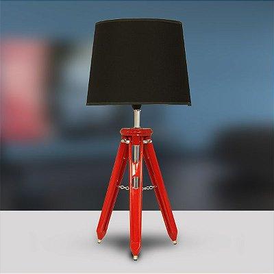 Abajur Tripé Rústico Madeira Colorido Vermelho Cúpula Bivolt 58cm de Altura Golden Art E-27 M751-VM Escritórios e Quartos