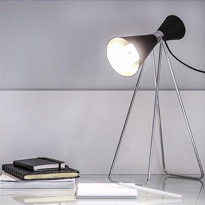Abajur Luminária de Mesa Cavalete Cone Alumínio Bivolt Leitura 45cm de Altura Golden Art E-27 M1071 Quartos e Salas