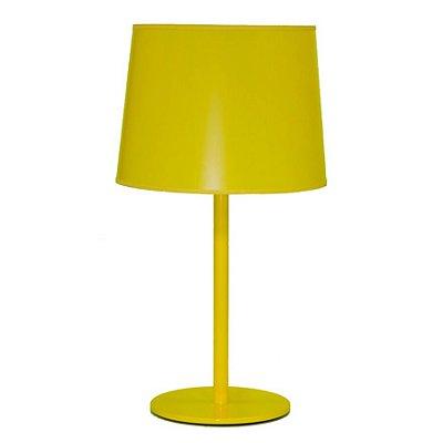 Abajur Alumínio Colorido Amarelo Cúpula Plástico Bivolt 63cm de Altura Castt Golden Art E-27 M895 Mesas e Quartos