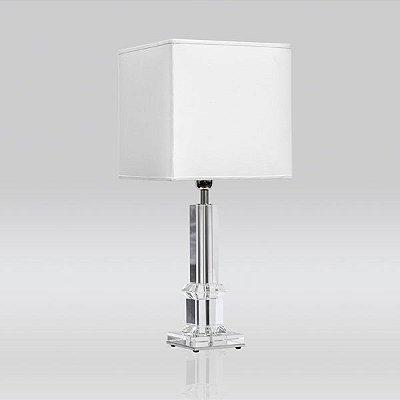 Abajur Decorativo Vidro Cristal Cúpula Quadrada Tecido Bivolt 73cm de Altura Golden Art E-27 MC009 Quartos e Salas