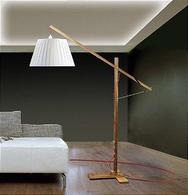 Coluna Luminária de Chão Rústica Ajustável Madeira Maciça Bivolt 1,70m de Altura Grua Golden Art E-27 C660 Salas e Hall
