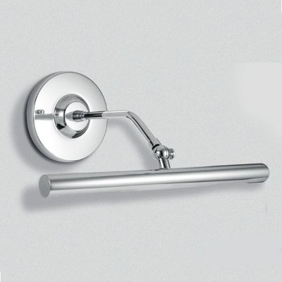 Arandela Para Espelho Quadro Interna Tubular Alumínio Cromado Cúpula Calha 30cm  Golden Art G9 P303 Banheiros e Salas