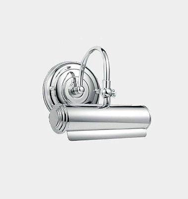 Arandela Para Espelho Quadro Interna Redonda Alumínio Cromado Calha 20cm Érica Golden Art E27 P301 Corredores e Salas