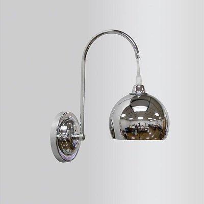 Arandela Interna Alumínio Cromado Braço Curvo Luz Frontal Ø12 Golden Art G9 P202-1 Banheiros e Corredores.