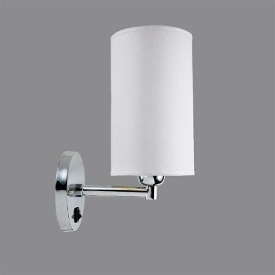 Arandela Interna Cromada c/ Interruptor Cúpula Cilíndrica Tecido 12x12x20 Golden Art P356 Corredores e Quartos