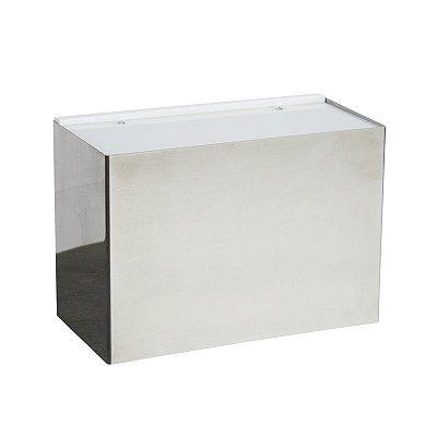 Arandela Interna Box Retangular Acrílico Branca 20x14 Golden Art E-27 P345-20 Corredores e Quartos