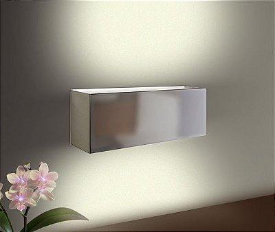 Arandela Interna Balizador Alumínio Cromado Fosco Retangular 40x14 Golden Art E-27 P345-40 Quartos e Salas