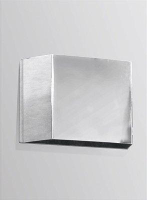 Arandela Balizador Interna Retangular Alumínio Cromado 12x08 Golden Art G9 P309 Corredores e Salas