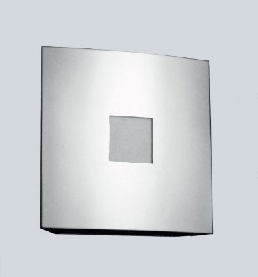 Arandela Quadrada Curva Alumínio Cromado Fosco Luz Frontal 20x20 Golden Art E-27 P383 Quartos e Salas
