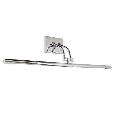 Arandela Para Espelho Quadro Interna Tubular Inox Cromada Calha Slim 60cm Golden Art Led P379-A-60 Banheiros e Salas