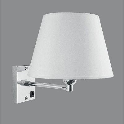 Arandela Interna Cromada Cúpula Tecido Braço Reto Interruptor 25x16 Golden Art E-27 P359 Corredores e Quartos