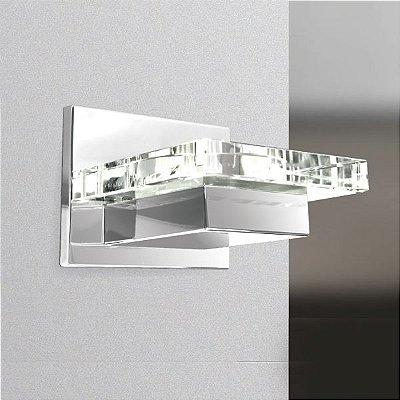 Arandela Interna Retangular Vidro Cristal Cromada 14x13 Golden Art G9 P913 Corredores e Salas