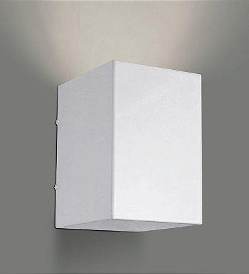 Arandela Interna Box Alumínio Branco Luz Frontal Decorativa 11x14 Golden Art E-27 P741 Escritórios e Salas