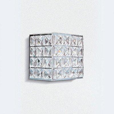 Arandela Interna Quadrada Alumínio Cromado Cristal Transparente 10x10 Golden Art G9 PC006 Quartos e Salas