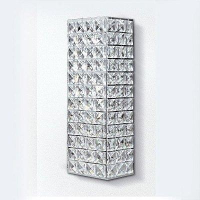 Arandela Retangular Interna Cristal Asfour Transparente 29x10 Golden Art G9 PC005 Corredores e Salas