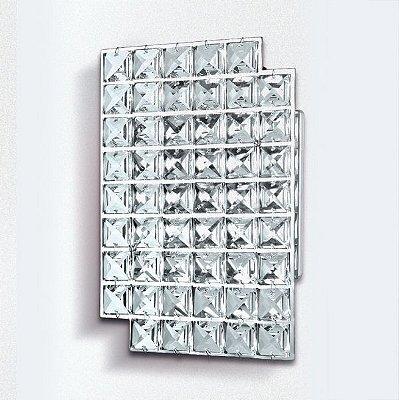 Arandela Painel Retangular Cristal Asfour Transparente 22x15 Golden Art G9 PC004 Quartos e Salas