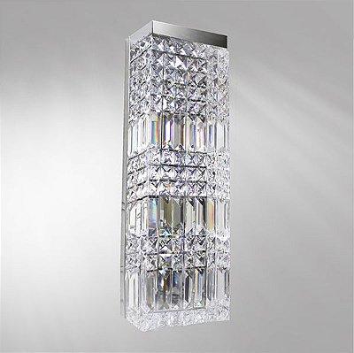 Arandela Retangular Cristal Asfour Lapidado Luminária Alumínio Cromado 15x10 Laila Golden Art P923 Quartos e Salas