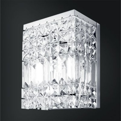 Arandela Retangular Cristal Asfour Lapidado Luminária Cromada 15x10 Laila Golden Art G9 P921 Quartos e Salas