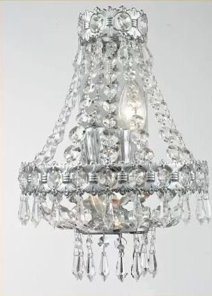 Arandela Interna Redonda Cristal K9 Transparente Lapidado Bivolt Ø24 Imperial Tupiara E14 Tup-4502cr Corredores e Salas