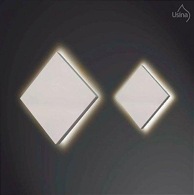 Arandela Interna Slim Quadrada Alumínio Fosco Luz Indireta 26x26 Home Usina Design G9 255/26 Quartos e Salas