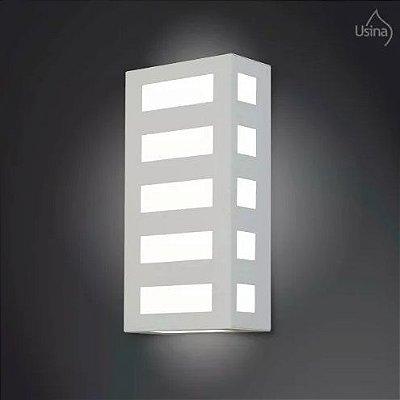 Arandela Externa Luminaria Retangular Listrada Alumínio Fosco 40x15 2012 Usina Design 5130/40 Muros e Jardins