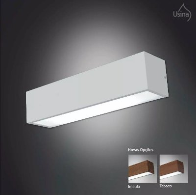 Arandela Retangular Alumínio Luz Frontal Kit 2pçs 10x38 Tropical Usina Design 4010/38 Escritórios e Salas
