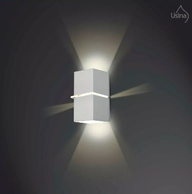 Arandela Externa Tubo Quadrado Fosco Alumínio Fachos de Luz 10x18 Kiara Usina Design G9 5225/18 P Muros e Jardins