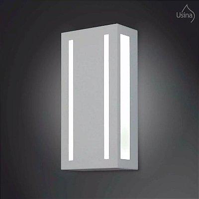 Arandela Externa Luminária Retangular Listrada Alumínio Fosco 20x15 2012 Usina Design E-27 5150/20 Garagens e Jardins