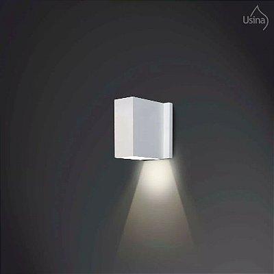 Arandela Externa Retangular Branca Alumínio Inox Fechada 11x08 Celly Usina Design 5260/8 Varandas e Jardins