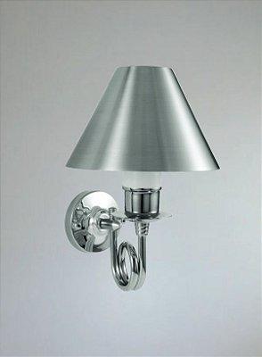 Mini Arandela Interna com Cúpula Cônica Alumínio Cromado e Fosco 11x06x15 Golden Art E-27 P317 Corredores e Quartos
