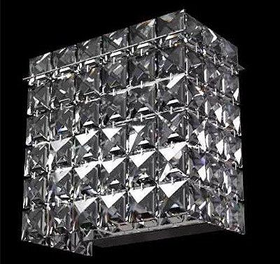 Arandela Interna Quadrada Inox Espelhado Cristal Transparente 15x12x8 New Design Halopin 600 Banheiros e Quartos