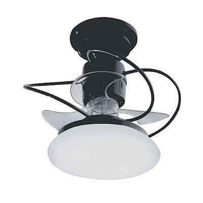 Ventilador Teto Lustre Atenas Preto Luminaria Led 18w Quarto Sala Cozinha Loja Treviso TRV21