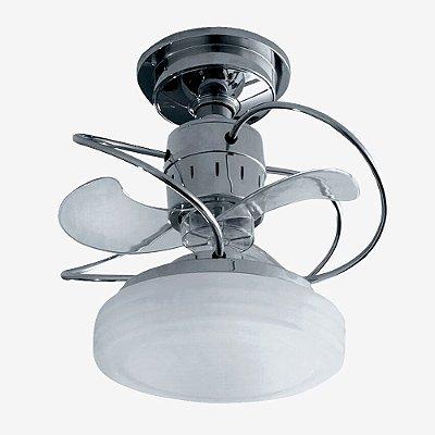 Ventilador Teto Lustre Bali Cromado Controle Remoto Led Sala Quarto Cozinha Loja 18w Treviso TRV40
