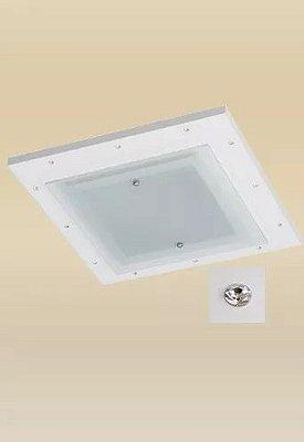 Plafon Monalisa Embutido Branco Strass 47x47 PLACA LED 18W Frio Madeira Vidro Madelustre 2336-18B-BR
