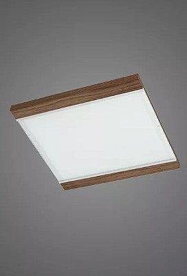 Plafon Embutido  Luminária 60x60 Madeira Vidro Sala Comercial Led Madelustre 2410