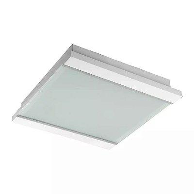Plafon Embutido Branco  Luminária 60x60 Madeira Vidro Sala Comercial Led Madelustre 2410