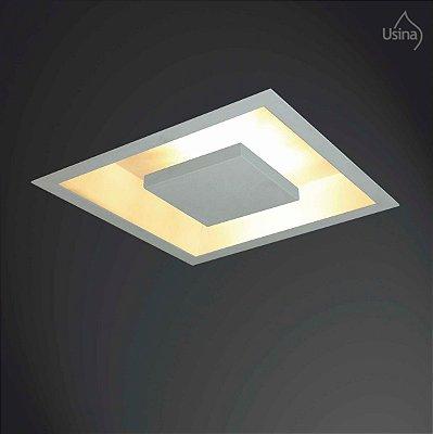 Plafon Embutido Quadrado Luminária Bivolt 38x38 Home Usina Design G9 250/4 Quartos e Salas