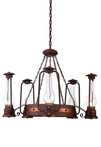 Lustre Lampião Metal Envelhecido Oxidado Rústico 5 Lâmpadas Ø86x2,30m Madelustre E-27 2623 Chácaras e Sítios