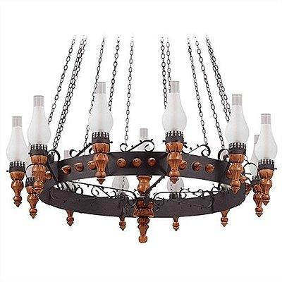 Lustre Rústico Madeira Metal Envelhecido Vidro Fosco 13 Lâmpadas Ø1,25x2,30m Medieval Madelustre E-27 60018 Entradas e Salas