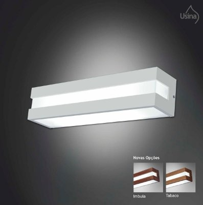 Arandela Interna Retangular Acrílico Leitoso Decorativa 10x46 Modular Usina Usina E-27 3810/46 Banheiros e Quartos