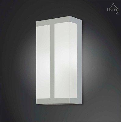 Arandela Interna Retangular Decorativa Vidro Leitoso Fosco 15x40 2012 Usina Design E-27 5120/40 Banheiros e Cozinhas