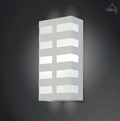 Arandela Interna Retangular Inox Decorativa Luz Frontal 15x20 2012 Usina Design E-27 5135/20 Corredores e Salas